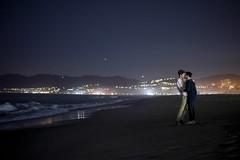 LA Lovers (Abigail Gorden) Tags: california city gay love beach boys night stars la kissing couple waves santamonica romance motionblur lgbt