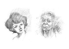 (nadiadubijansky) Tags: old pencil women faces mother sketchbook  israelart israelillustration