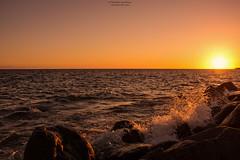 Sunset splash (Fredrik Lindedal) Tags: ocean sunset sea sky sunlight water skyline landscape islands coast spain nikon rocks stones wave atlantic canary splash