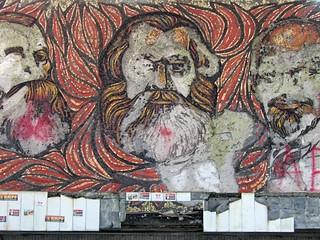 Portraits de Karl Marx, Friedrich Engels et Lénine