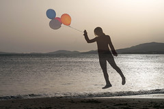 ~ (im_tat) Tags: beach balloons person fly flying exposure double levitate