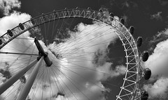 Riders in the Sky (lunaryuna (off to Iceland for 2 weeks)) Tags: england sky bw london monochrome architecture clouds blackwhite view londoneye landmark structure cloudscape attractions giantwheel