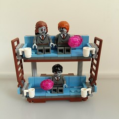 Potter zombies movie night!  Fig idea by Potter Brick (Bart Willen) Tags: zombie harry potter ron hermione apoc weasley doubledeckercouch