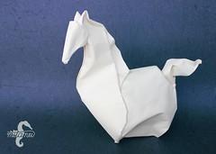 The Prancing Pony (mitanei) Tags: horse animals paperart origami pony pferd wetfolding danielchang origamihorse papierkunst mitanei keepfoldingon origamipony origamipferd