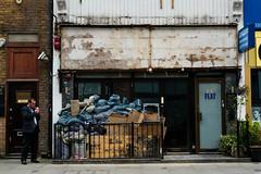 Flat 101 (stevedexteruk) Tags: street door uk man london flat cigarette smoking 101 rubbish bags refuge sacks 2016 praed