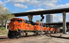 Empty Scherer Train in Kansas City (James Patrick Kolwyck) Tags: city bridge plant georgia photography crossing power empty railway bn diamond mo missouri kansas coal railfan bnsf flyover scherer emd railfanning sd70ace