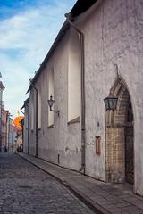Medieval Church Doorway (k009034) Tags: street door old travel windows sky wall architecture clouds town europe tallinn estonia arch pavement lantern oldtown narrow destinations traveldestinations 500px teamcanon