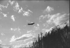 lading (pumobelix) Tags: blackandwhite clouds plane landing foma caffenol fomapan fomacreative