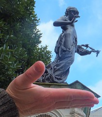 I will catch you if you fall... (sue_p32) Tags: sculpture statue canterbury forcedperspective marlowetheatre christophermarlowe onslowford museofpoetry kittymarlowe 52in2016
