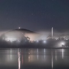 Reflections, Mist, and Short Star Trails in the Sky - Kingston - ACT - 20160427 @ 04:46 (MomentsForZen) Tags: longexposure light mist lake fog night reflections dark square stars australia hasselblad kingston lighttrails startrails lightroom australiancapitalterritory lakeburleygriffin hasselblad500cm mountainslie topazlabs australianamericanmemorial photoshopexpress exifeditor topazdenoise topazsimplify photofxlab momentsforzen hasselbladcfvii16mp