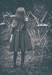 She will come. (Lee Summerson) Tags: blackandwhite girl monochrome canon movie mono scary dress spiders longhair horror movies thering horrorstory eos7d canonuk