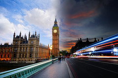 Day to Night on Westminster Bridge (Anatoleya) Tags: city longexposure bridge sky london westminster night day landmarks housesofparliament parliament bigben landmark clocktower lighttrails hdr westminsterbridge lighttrail nighttoday daytonight anatoleya