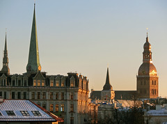 (Dudina18) Tags: winter light sunshine soft spires churches riga