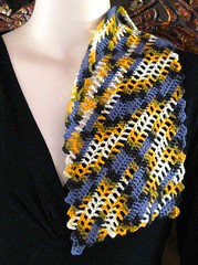 Bare Bones Scarf (vashtirama) Tags: crochet variegated filet multicolor freeform handdyedyarn selfstriping handpaintyarn crochetclass shortstriping barebonesscarf stitchgames