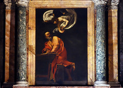 Caravaggio, Inspiration of St. Matthew, 1599-1600