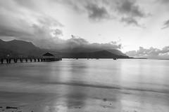 Calm (Tim Gupta) Tags: blackandwhite monochrome hawaii pier kauai hanaleibay