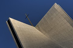 Ascending into the blue (PeterThoeny) Tags: sanfrancisco california roof abstract church architecture raw cross cathedral religion diagonal minimalism minimalist hdr stmaryscathedral 3xp photomatix fav100 cathedralofsaintmaryoftheassumption nex6 sel50f18