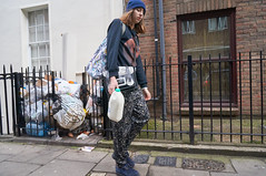 20160205-13-32-45-DSC03710 (fitzrovialitter) Tags: street blue england urban london girl westminster hat trash bag geotagged milk garbage fitzrovia none unitedkingdom camden soho streetphotography documentary litter bloomsbury rubbish environment wooly mayfair westend flytipping dumping cityoflondon marylebone captureone gpicsync peterfoster fitzrovialitter followthisroute