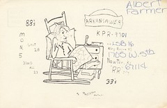 Godfather #1: Arkansawer - Newton, Kansas (73sand88s by Cardboard America) Tags: vintage chair blanket kansas qsl cb godfather newton cbradio