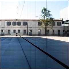 The Half Man (rita vita finzi) Tags: light glass lines architecture facade reflections milano perspective mirrored settembre architettura 2015 fondazioneprada olympusomd5