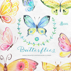 Butterflies Watercolor: 9 Separate hand painted clipart, diy elements, invitation, wedding, greetings, flowers, wings, digital butterfly (octopusartis) Tags: wedding art digital butterfly watercolor scrapbook scrapbooking paper diy graphic clip invitation clipart download instant png suite invite greeting