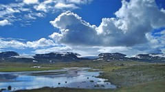 Three Glaciers, Hardanger-Jkulen, Finse, Norway. (unclebobjim) Tags: blue sky cloud white ice water norway clouds three skies glaciers finse finsevatnet thebergenrailway bergentooslorailway