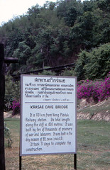 Thailand - Wang Pho - The wooden bridge of Kra Sae (railasia) Tags: trestle thailand info signboard infra nineties srt krasae burmarailway wangpho metergauge changwatkanchanaburi