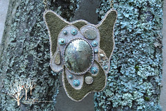 The Wanderer pendant_3 (~Gilven~) Tags: green beads handmade linen embroidery silk jewelry bead pearl swarovski beading pendant pyrite chalcopyrite beadembroidery japanesebeads foggyforest swarovskipearl