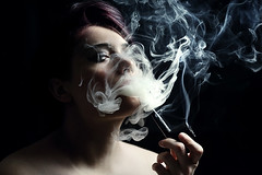 Portrait: Anthem of the calming storm. (ste_peg) Tags: light shadow portrait woman storm girl smoke calming anthem stepeg