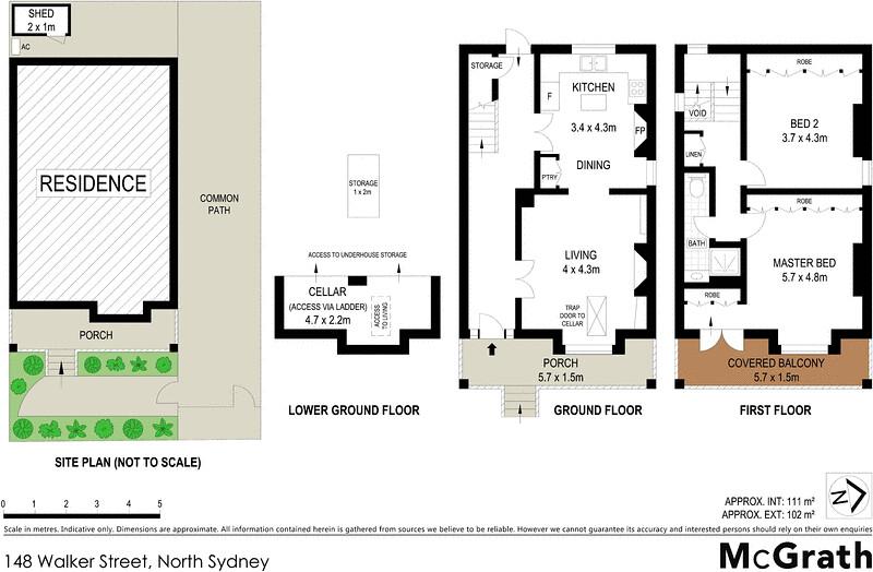 Floorplan for 148 walker street north sydney nsw 2060 for Kirribilli house floor plan