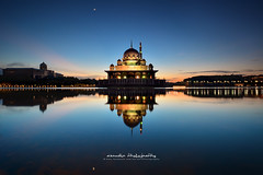 Majestic view of Putra Mosque at blue hour (azrudin) Tags: blue light vacation sky lake reflection art architecture sunrise landscape still lowlight cityscape slow colorfull lakeside bluehour putrajaya viewpoint scapes longexposures graduatedfilter azrudin azrudinphotography
