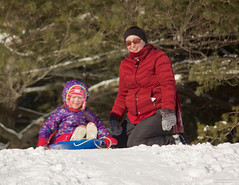 Going! (leelanau2010) Tags: blue winter red usa white snow kids mi fun parents lucy crazy sister christopher bumpy sledding northwoods