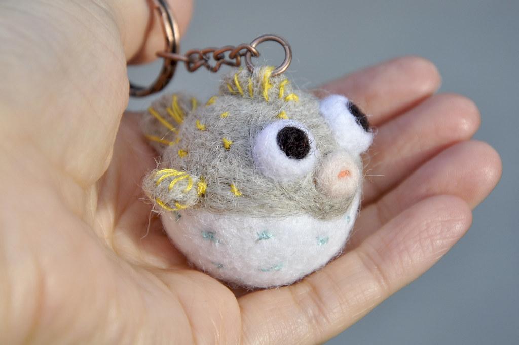8b7317d7c0476 needle felting balloon fish keychain (noristudio3o) Tags  light fish animal  felted studio miniature