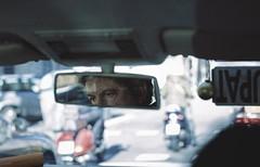 Traffic on a Monday (-ASD-) Tags: barcelona camera city light portrait man color colour texture colors face car canon vintage mirror exposure colours shadows traffic faces taxi rustic explore driver canon5d vignette