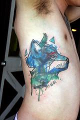 geometric watercolor wolf tattoo (Deanna Wardin @ Tattoo Boogaloo) Tags: sf sanfrancisco blue art geometric tattoo ink watercolor wolf ribs bayarea watercolortattoo deannawardin tattooboogaloo