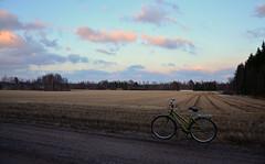 7.4.2016 (Villikko) Tags: road sunset nature field bike bicycle clouds suomi finland landscape evening countryside spring tie maisema ilta polkupyörä luonto pilvet auringonlasku kevät tunturi maaseutu pelto hiekkatie pyörä