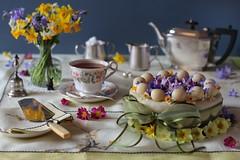 Easter Teatime (memoryweaver) Tags: flowers stilllife cake easter baking spring tea marzipan teatime simnelcake englishtea handembroidered memoryweaver vintagetablelinen