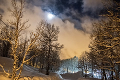 Moving clouds in front of the moon (Ingunn Eriksen) Tags: winter snow norway night clouds winterwonderland troms troms movingclouds
