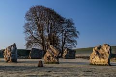 A selection of Stones (Ken_Jones) Tags: morning blue england sky cold standing sunrise ancient frost unitedkingdom stones gb druid avebury