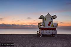 Calm Miami Beach Morning II (Tim Azar) Tags: ocean morning orange beach water architecture clouds sunrise landscape sand waves florida cloudy miami shoreline miamibeach southbeach hdr lifeguardtower canon6d timazar