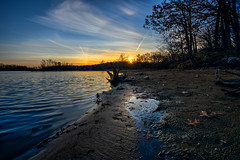 Sun Dog Sunset (Jacqueline C. Verdun) Tags: park sunset sky dog sun reflection beach water leaves march colorful mud metro michigan parhelion kensington phantom sundog mock parhelia verdun 2016 jcv mocksun phantomsun jacquelinecverdun
