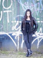 Nathalie, Amsterdam 2016: Cool chick (mdiepraam (35 mln views)) Tags: portrait girl beautiful dutch amsterdam graffiti pretty boots nathalie brunette elegant leatherjacket roest 2016 oostenburg naturalglamour
