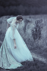 Ania (magdalena.russocka) Tags: woman girl lady illustration vintage outside dress emotion outdoor victorian meadow naturallight expressive dreamy illustrator shawl emotional emotions emotive narrative storytelling oldtimes evocative lacedress