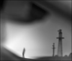 F_DSC3522-BW-Nikon D800E-Nikkor 28-300mm-May Lee  (May-margy) Tags: portrait bw lighthouse blur harbor day cloudy bokeh taiwan           repofchina  newtaipeicity maymargy nikkor28300mm nikond800e maylee  streetviewphotographytaiwan  naturalcoincidencethrumylens   fdsc3522bw mylinesandmyimagination