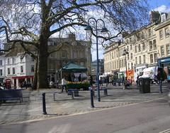Kingsmead Square (southglosguytwo) Tags: road signs tree buildings bath stall shops april van benches stgeorgesday 2016 kingsmeadsquare variouspeople