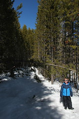 Olsen on the trail (Aggiewelshes) Tags: travel winter snow april snowshoeing wyoming olsen jacksonhole colterbay grandtetonnationalpark 2016 gtnp