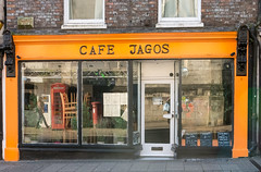 91A/366 Cafe Jagos - Photograph from my second 366 project for 2016 -a photo a day for a year. (dorsetpeach) Tags: england orange black sign reflections cafe dorset letter 365 dorchester 2016 366 jagos aphotoadayforayear 366project second365project cafejagos