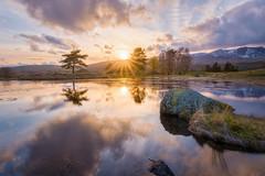 Kelly Hall Tarn Sunset (Uillihans Dias) Tags: uk sunset england reflection clouds landscape unitedkingdom hdr highdynamicrange sunsent kellyhalltarn