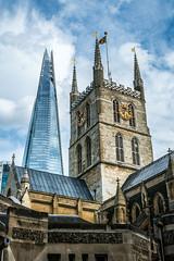 Old and New Towers (Serendigity) Tags: uk england london unitedkingdom towers clocktower southwarkcathedral theshard