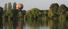 Balloon in Weston Park across the lake (spelio) Tags: water festival mar hotair balloon australia canberra act 2016 lakeburleygriffin